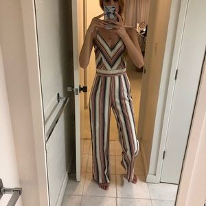 Jumpsuit multicolor striped lightweight size small